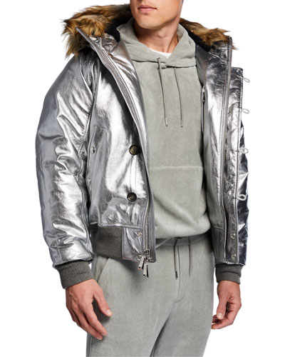 e2ed59740a Men s Metallic Foil Leather Jacket w  Faux-Fur Hood