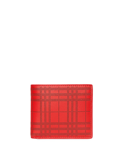 Men's Perforated Check Bi-Fold Leather Wallet