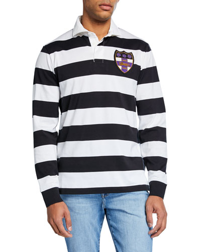 Men's Graphic Stripe Rugby Shirt with Patch