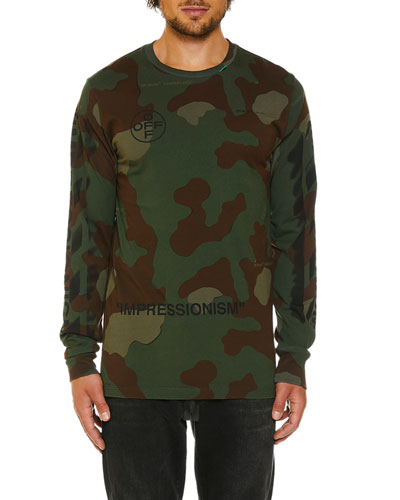 Men's Camo Diagonal-Arrows Long-Sleeve T-Shirt