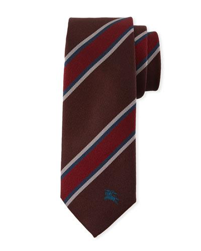 Oxblood Slim-Cut Striped Silk Tie