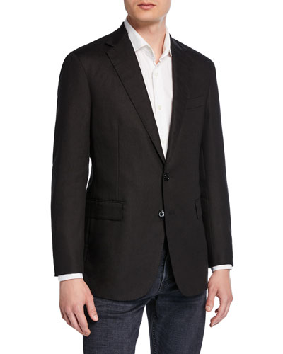Men's Hadley 2-Button Linen Jacket, Black