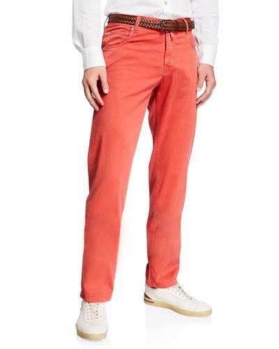 Men's Cotton/Silk Stretch Straight-Leg Pants