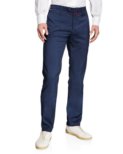 Men's Slim-Straight Flat-Front Wool Pants