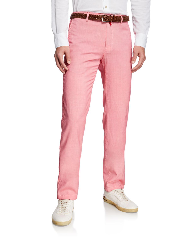 Kiton Pants MEN'S SLIM-STRAIGHT FLAT-FRONT WOOL PANTS
