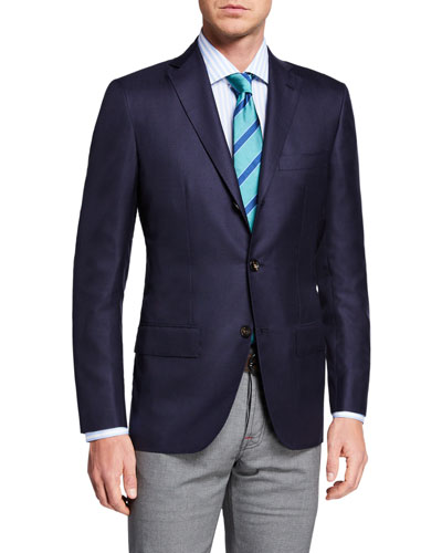 Men's Solid Cashmere Three-Button Blazer
