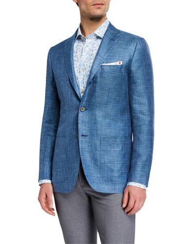 Men's Textured Cashmere Three-Button Jacket
