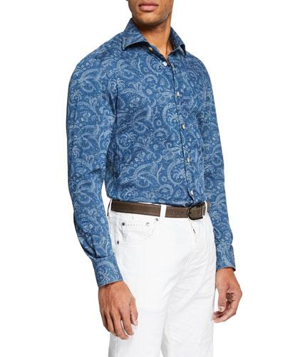 Men's Chambray Paisley Sport Shirt