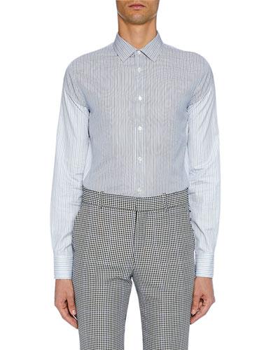 Men's Long-Sleeve Two-Tone Button-Front Shirt