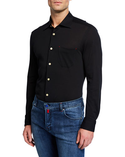 Men's Pique Pocket Sport Shirt, Black