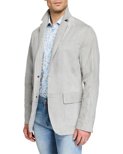 Men's Suede Three-Button Blazer