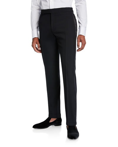 Men's Gregory Wool Barathea Tapered Tuxedo Pants