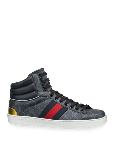 fe4f58239a3 Men s Ace GG Canvas High-Top Sneakers Quick Look. Gucci