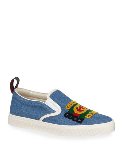 482efdde Men's Denim Slip-On Sneakers With Gucci Patch