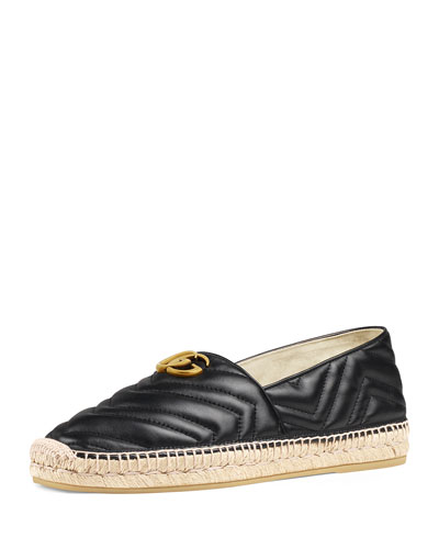 Men's Quilted Leather Espadrilles With Double G