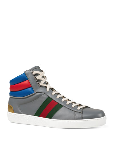 Men's Ace Colorblock Leather High-Top Sneakers