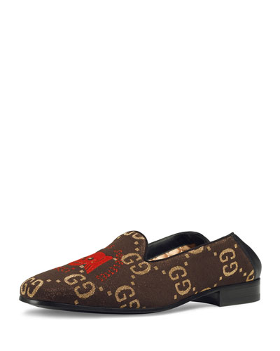Men's Winged Skull-Embroidered Loafers