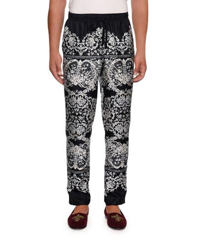 Men's Lace Print Silk Pajama Pants