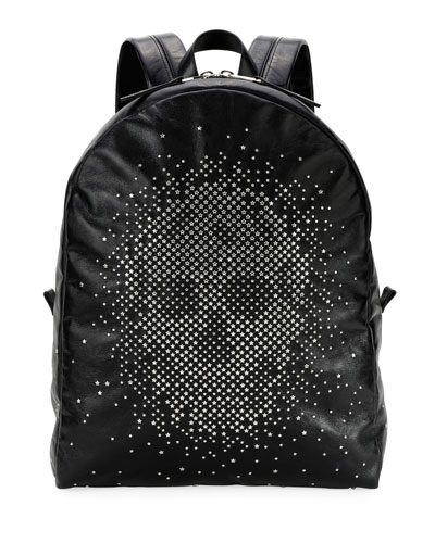 Men's Skull-Studded Leather Backpack