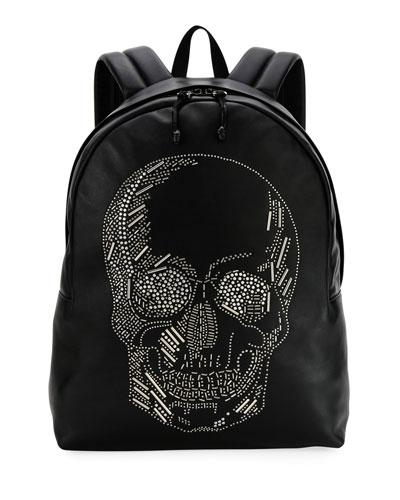 Men's Skull-Studded Small Backpack