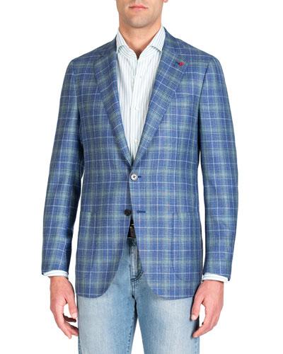 Men's Two-Tone Plaid Two-Button Jacket