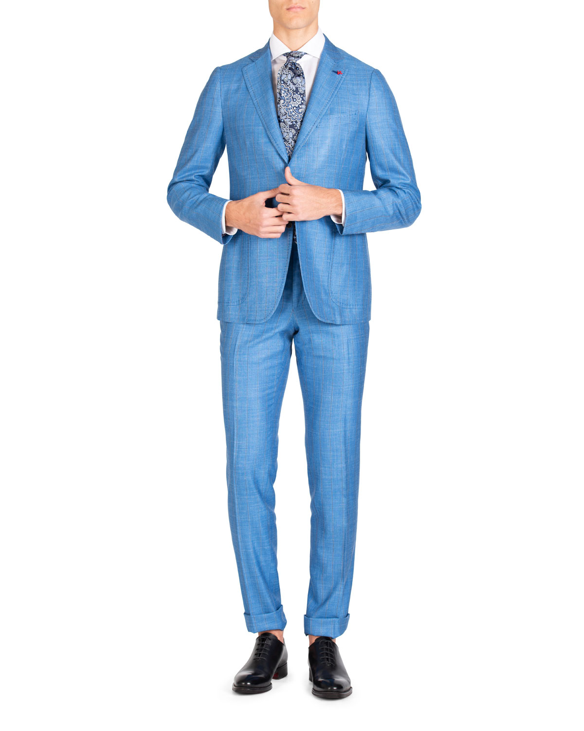 Isaia Suits MEN'S STRIPE WOOL/SILK/LINEN TWO-PIECE SUIT
