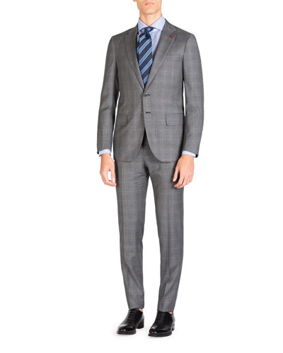 Men's Plaid Super 140s Two-Piece Suit