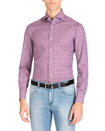 Men's Long Sleeve Denim Floral Print Sport Shirt
