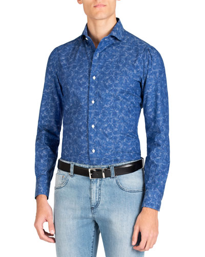 Men's Long Sleeve Floral Print Sport Shirt