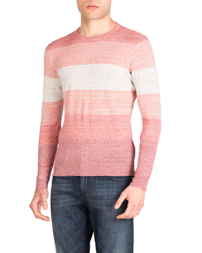 Men's Heathered Striped Crewneck Sweater