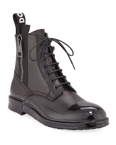Men's Cap-Toe Leather Combat Boots