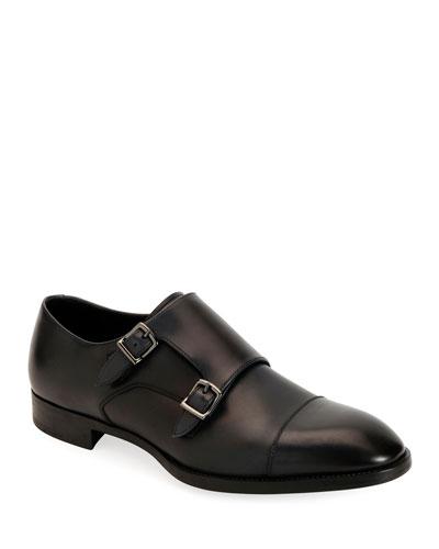 Men's Leather Double-Monk Shoes
