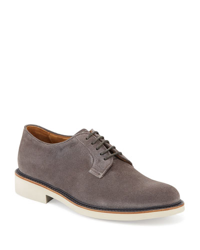 Men's Suede Low-Top Derby Shoe, Dark Gray