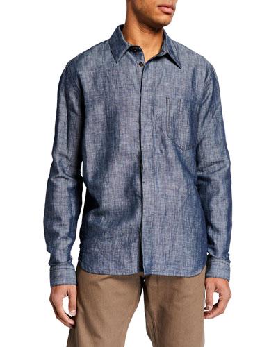 Men's Cotton/Linen Denim Sport Shirt