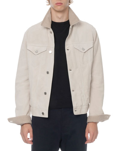 Men's Suede Button-Front Jacket