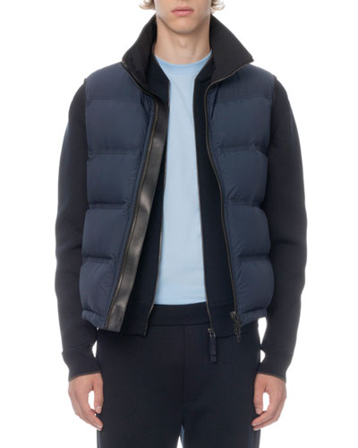 Men's Leather-Trim Zip-Front Down Vest