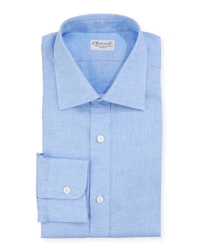 Men's Solid Linen Dress Shirt, Blue