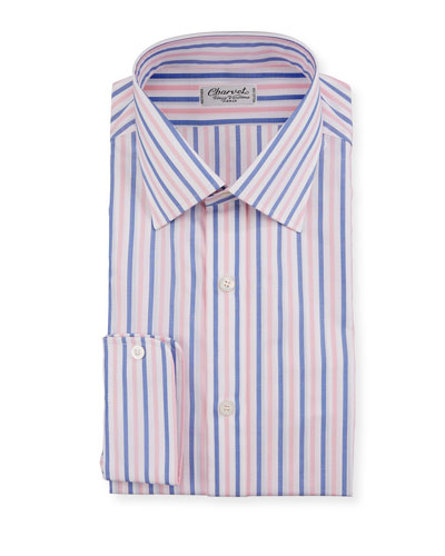 Men's Vertical Stripe Dress Shirt, Pink/Blue