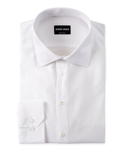 Men's Solid Textured Dress Shirt