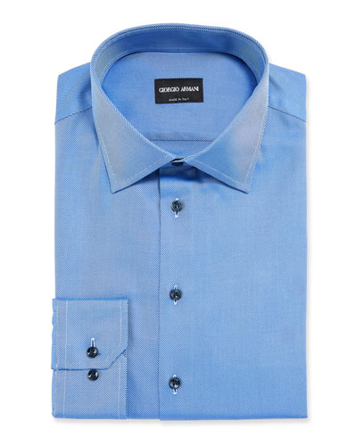 Men's Solid Twill Dress Shirt, Deep Blue