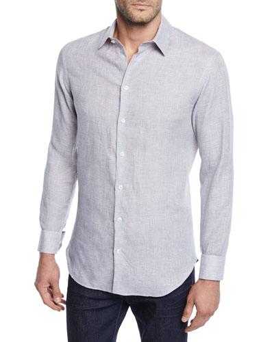 Men's Micro-Houndstooth Linen Sport Shirt, Light Gray