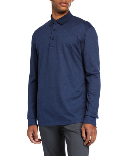 Men's Textured Long-Sleeve Polo Shirt