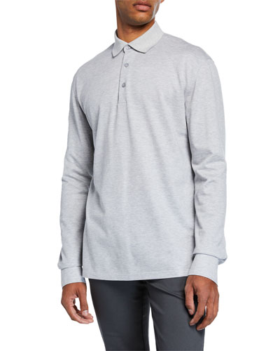 Men's Textured Long-Sleeve Polo Shirt, Light Gray