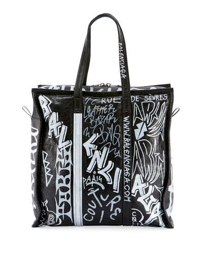 0b8c910cac06 Men s Bazar Medium Graffiti Leather Shopper Tote Bag Quick Look. Balenciaga