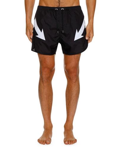 Men's Mirrored Arrow Bolt Graphic Swim Shorts