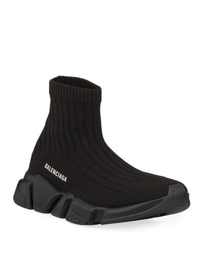 Men's Speed Stretch-Knit Sock Sneakers, Black