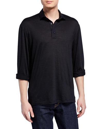 Men's Lightweight Wool Long-Sleeve Polo Shirt, Black