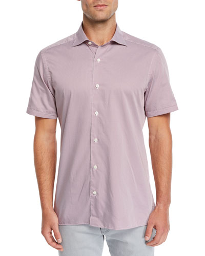 Men's Grid-Pattern Short-Sleeve Sport Shirt