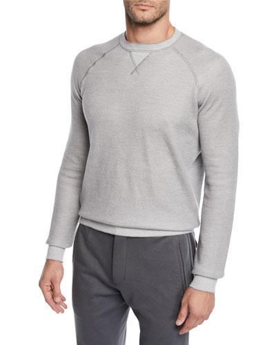 Men's Cotton/Cashmere-Blend Raglan Crewneck Sweater