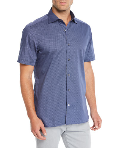 Men's Dotted Short-Sleeve Sport Shirt